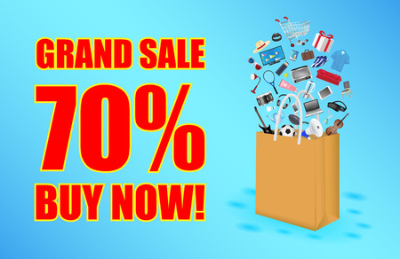 grand sale with paper bag and shopping item floating