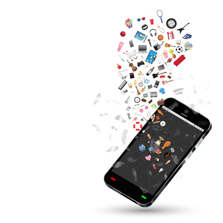 general store: smartphone with many shopping objects floating on a white background