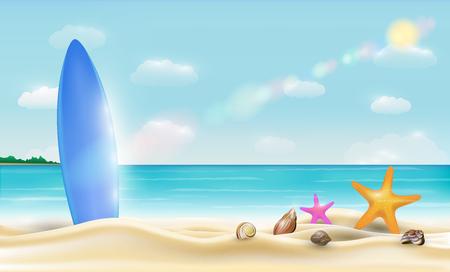 아름 다운 밝은 바다 모래 해변 벡터에 서핑 보드