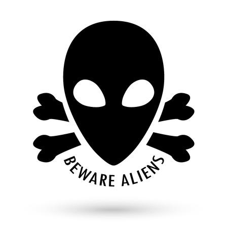 beware: black beware alien with bone cross vector Illustration