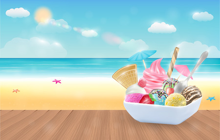set of real chocolate lemon mango strawberry and mint  ice cream on a dish with sea beach background
