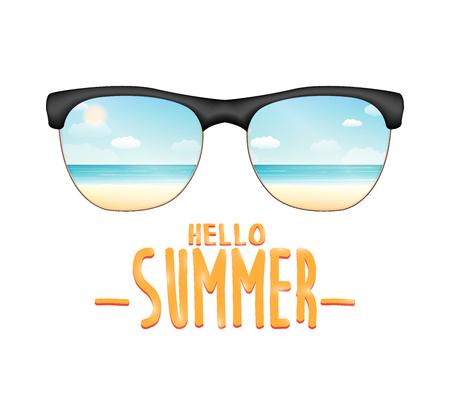 sunglasses reflexing sea beach with hello summer Illustration