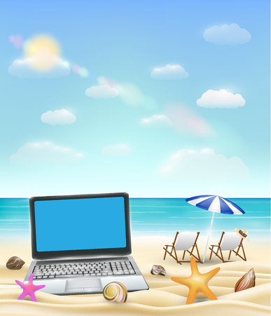 Computer laptop on a sand beach with beach chair and bright sea background.
