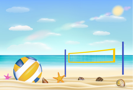 Beach volleyball and net on a sand beach with bring sea sky background.