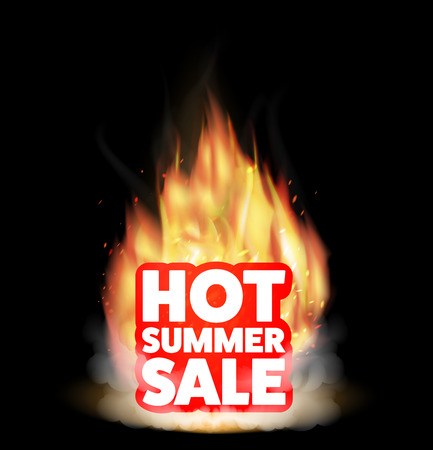 hot summer sale with a real burning fire Illustration
