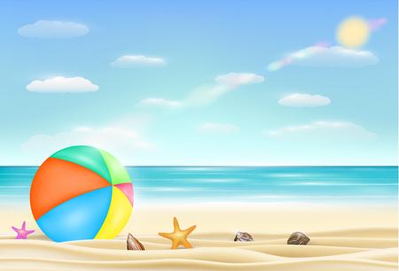 beach ball on a sea sand beach with starfish and shell Illustration