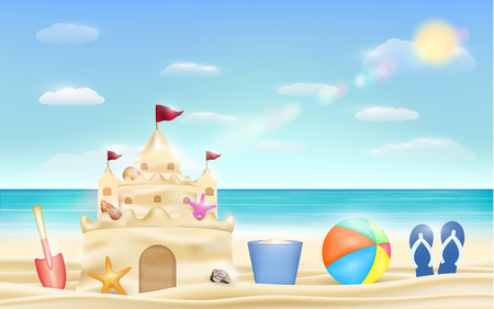 sand castle and shovel bucket and ball on a sea beach Illustration