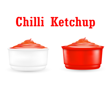 Chili ketchup sauce in a little plastic bowl.