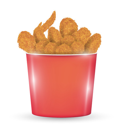 A red bucket full of a fried chicken on a white background