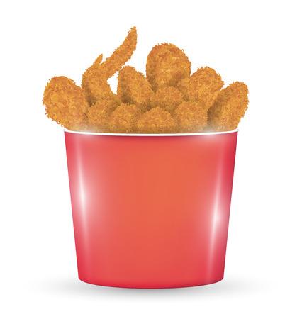 Un cubo rojo lleno de un pollo frito sobre un fondo blanco Ilustración de vector