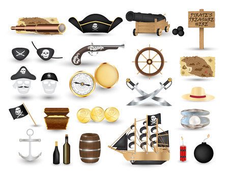 eyepatch: A set of pirate object tool on a white background