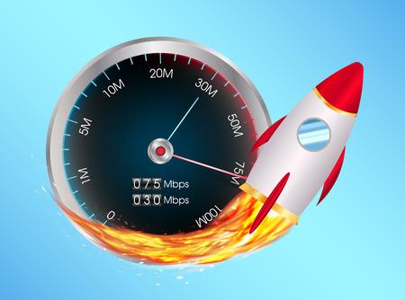 boost internet speed meter with toy rocket 矢量图像