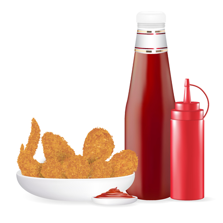 Set of fried chicken with sauce bottle vector Illustration