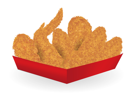 fried chicken in a paper box package on a white background