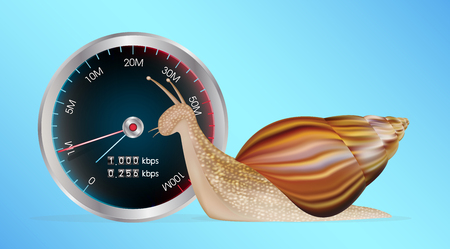 A snail with slow internet speed meter test Illustration