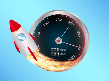 high speed internet: A fast internet speed test meter with toy space rocket
