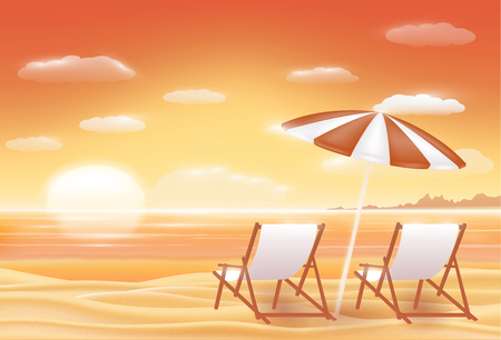 sunset beach: Beautiful sunset sea sand beach scene  with beach chair