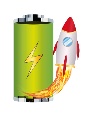 voltage sign: Green battery with toy rocket boost up