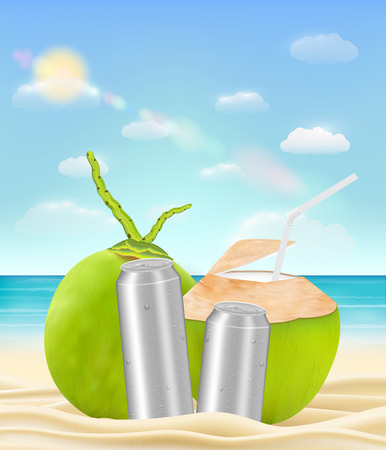 coconut drink water can on a sea sand beach