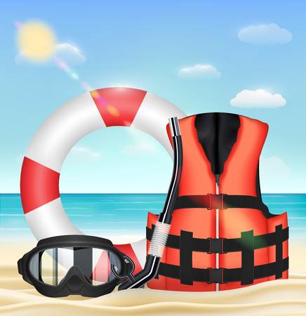 diving mask snorkel life vest and safety torus