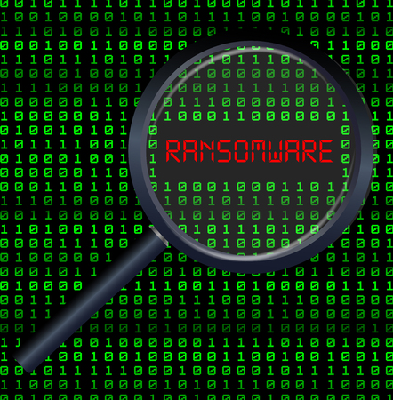 magnifying glass scanning data and found ransomware Illustration