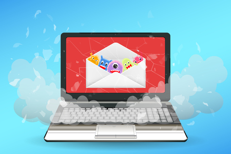 laptop computer broken by virus from email Illustration