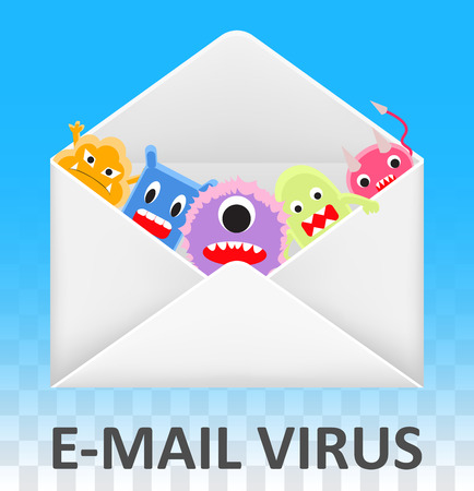 email envelope open and infected computer virus Illustration