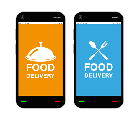 smartphone with food delivery application logo on screen