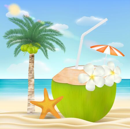 coconut water drink on a sea sand beach Иллюстрация