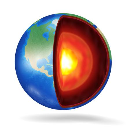 白い背景に実際の惑星地球の構造  イラスト・ベクター素材