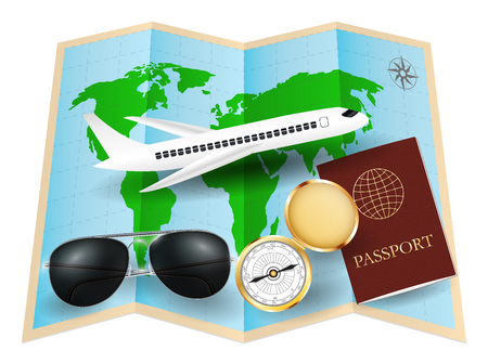 サングラス コンパス パスポート平面の世界地図