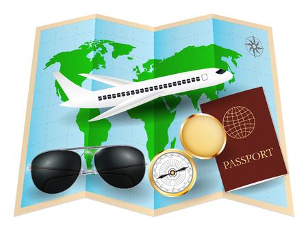 world map with sunglasses compass passport plane