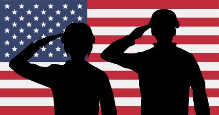 Silhouet Amerikaanse soldaten groet op de VS vlag Stock Illustratie
