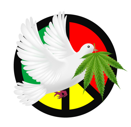 White pigeon flying with marijuana and peace logo Illustration