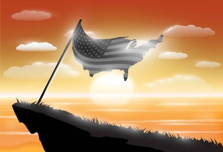 silhouette united states of america flag on cliff with sunset sea background