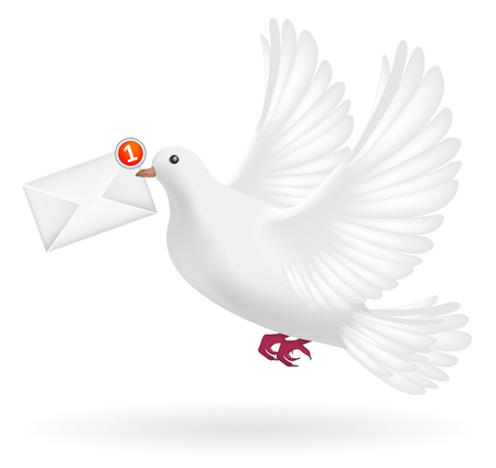 white pigeon flying with envelope mail message Ilustracja