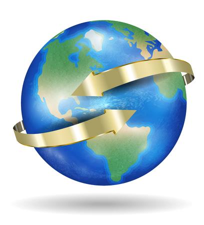Planeta tierra del mundo real con flecha dorada Foto de archivo - 79652036