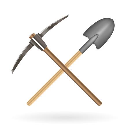 croce pala e piccone logo su uno sfondo bianco