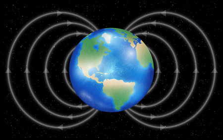 earth planet with magnetic field on a black background