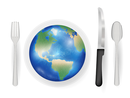 knive: earth planet on a dish with knife fork and spoon eat world concept Illustration
