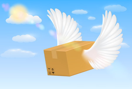 delivery corrugated carton box with flying bird wing
