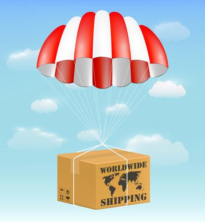 carton box worldwide product shipping parachute