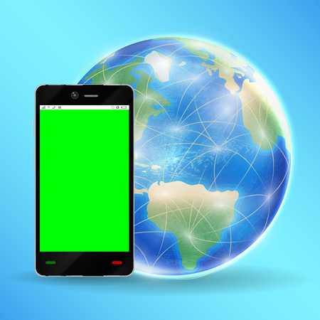 smartphone green screen with  earth globe
