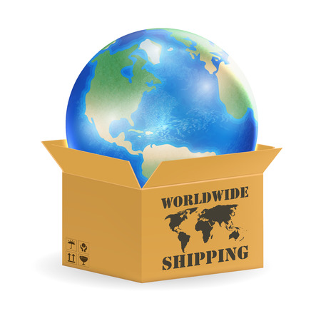 earth globe in product worldwide shipping box