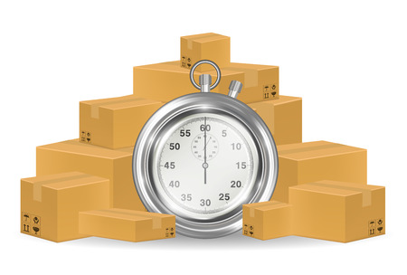 steel stopwatch with shipping carton box Illustration