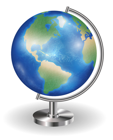 real planet earth globe with steel stand Illustration