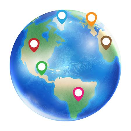 geolocation: A gps icon on a planet earth globe.