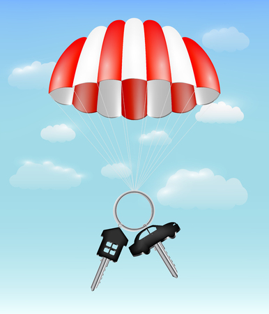house and car key with parachute on sky background