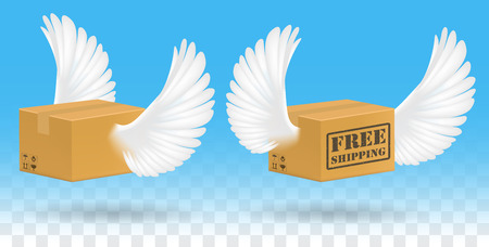 corrugated box: brown corrugated carton box with bird wing Illustration