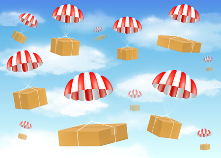 Group of carton box with parachute on sky